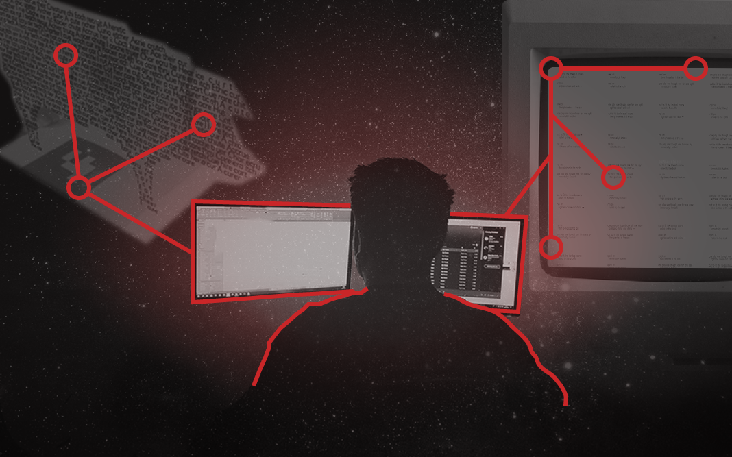 Image of man and computer in the Contact Us Space.