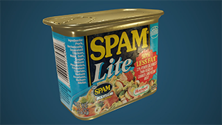 A 3D model of a can on Spam